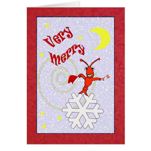 Very Merry Crawfish / Lobster Christmas Greeting Cards