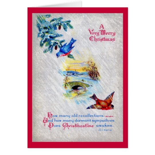Very Merry Dickens Christmas 1917 Vintage Card