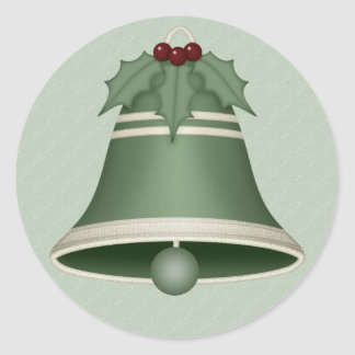 Very Merry Green Christmas Bell Stickers