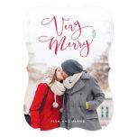 Very Merry Red Script Christmas Photo Cards 13 Cm X 18 Cm Invitation Card