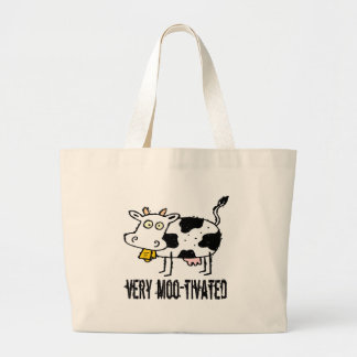 Very Moo-tivated Funny T-shirts Gifts Jumbo Tote Bag