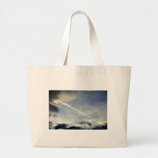 Very nice double traces of airplane in the morning canvas bags