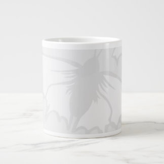 Very Pale Gray Butterfly Background Design. Large Coffee Mug