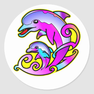 Very Pretty Mother & Calf Dolphins Classic Round Sticker