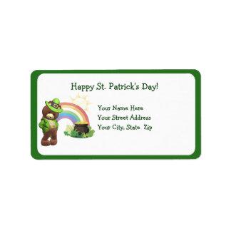 Very Shy, Cute Irish Bear #1 Address Label
