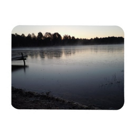 Very still lake in a late fall freeze flexible magnet