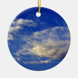 Very structured cloud in a beautiful blue sky christmas ornament