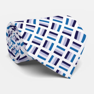 Very Unique Square Pattern - Blue Navy Blue White Tie