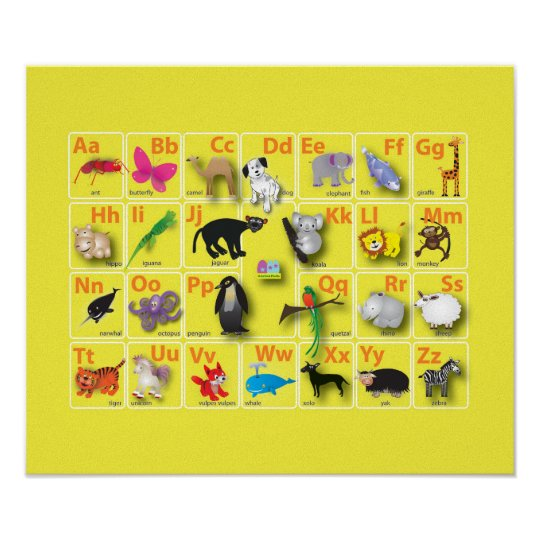 Very very cute animal Alphabets Poster