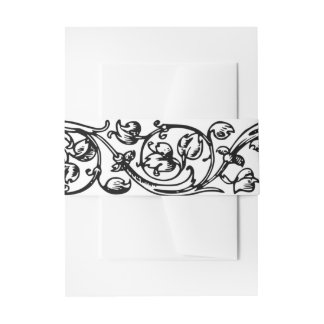 Very Vintage  Black and White Invitation Belly Band