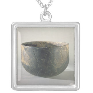 Vessel with a ribbon-style decoration silver plated necklace