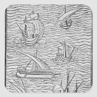 Vessels of Early Spanish Navigators Square Sticker