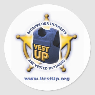 Vest Up Round Sticker