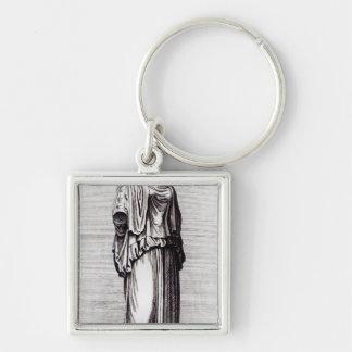 Vestal Virgin, c.1653 Silver-Colored Square Key Ring