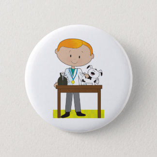 Vet and Dog 6 Cm Round Badge