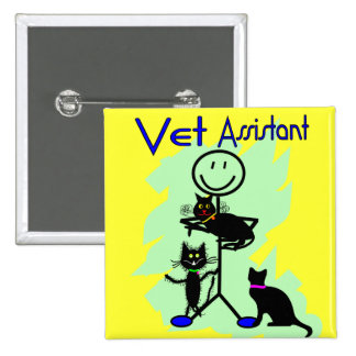 Vet Assistant Stick Person With Black Cats 15 Cm Square Badge