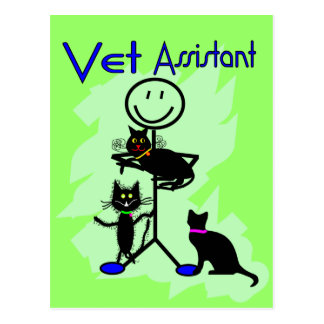 Vet Assistant Stick Person With Black Cats Postcard