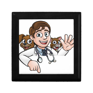 Vet Cartoon Character Pointing Sign Gift Box