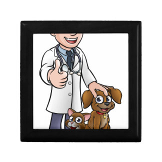 Vet Cartoon Character with Pet Cat and Dog Gift Box