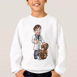 Vet Cartoon Character with Pet Cat and Dog Sweatshirt