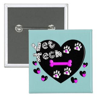 Vet Tech BLACK AND WHITE HEARTS 15 Cm Square Badge