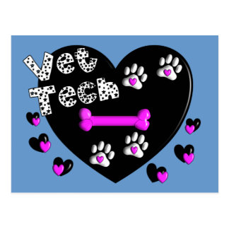 Vet Tech BLACK AND WHITE HEARTS Postcard