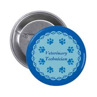 Vet Tech Blue Lace 8/Blue Paw Prints (Template) 6 Cm Round Badge