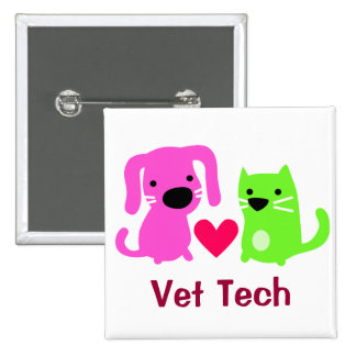 Vet Tech Dog & Cat with Heart 15 Cm Square Badge