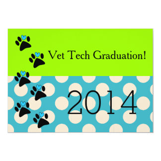 Vet Tech Graduation Invitations Lime and Blue