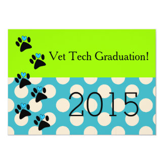 Vet Tech Graduation Invitations Lime and Blue 8