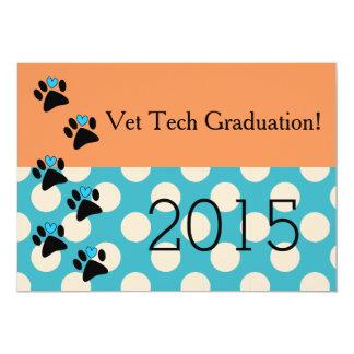 Vet Tech Graduation Invitations Orange and Blue
