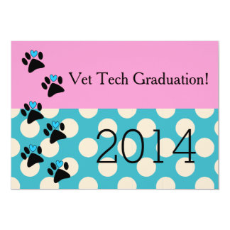 Vet Tech Graduation Invitations Pink and Blue