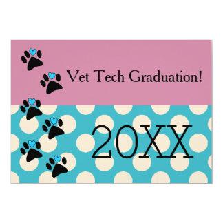 Vet Tech Graduation Pink and Blue 13 Cm X 18 Cm Invitation Card
