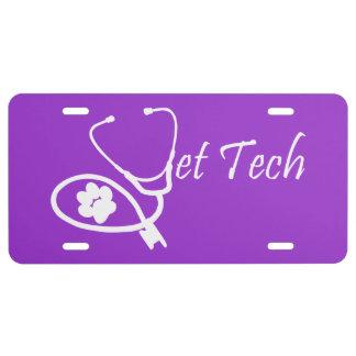 vet tech license plate license plate