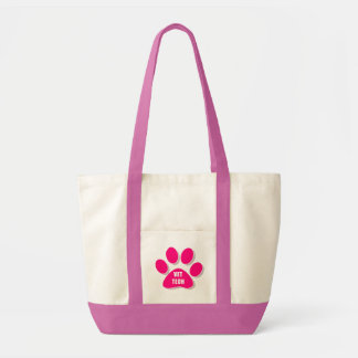 vet tech paw pink tote impulse tote bag