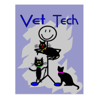 Vet Tech Stick Person With Black Cats Postcard