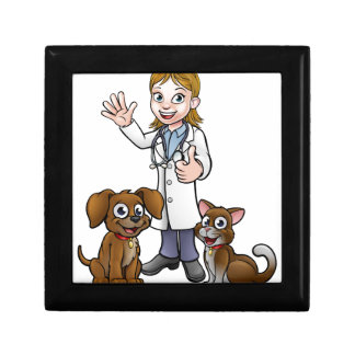 Vet with Pet Cat and Dog Cartoon Characters Gift Box