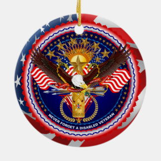 Veteran Customize Edit & Change background color Round Ceramic Decoration