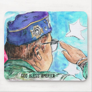 Veteran God Bless America Mouse Pad