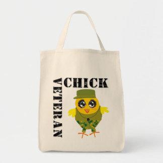 Veteran Military Chick Grocery Tote Bag