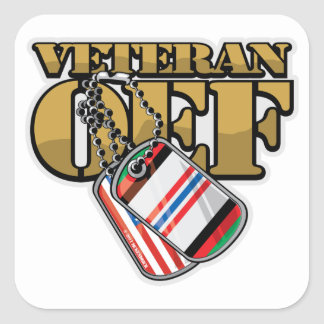 Veteran OEF Dog Tags Square Stickers
