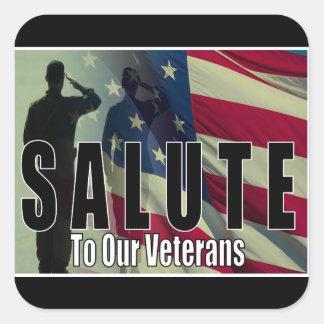 Veteran Salute Square Stickers