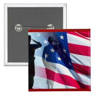 Veteran Salutes the Flag Patriotic 15 Cm Square Badge