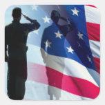 Veteran Saluting the Flag Patriotic Square Sticker
