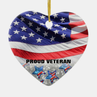 Veteran Soldier Pride USA Flag Gift for Military Ceramic Heart Decoration