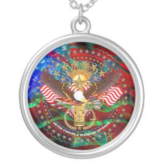 Veteran Transparent back  Please view About design Round Pendant Necklace