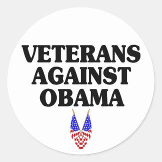 Veterans against Obama Classic Round Sticker