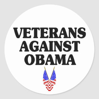 Veterans against Obama Round Stickers
