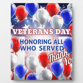Veterans Day American Flag Balloons Background Photo Plaques