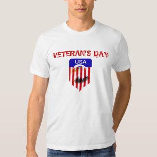 Veteran's Day Bald Eagle fade on flag shield Tees